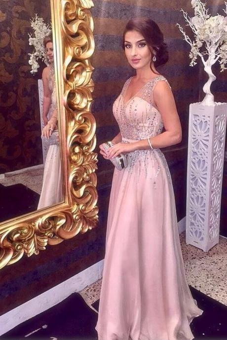 Sparkly Beading Prom Dress, V neck A Line Prom Dress, Sleeveless Long Formal Party Dress 2018