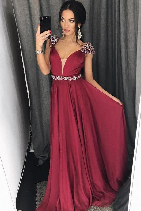 Charming Burgundy Prom Dress, Beaded Long Prom Dress, V-Neck Stain Evening Dress