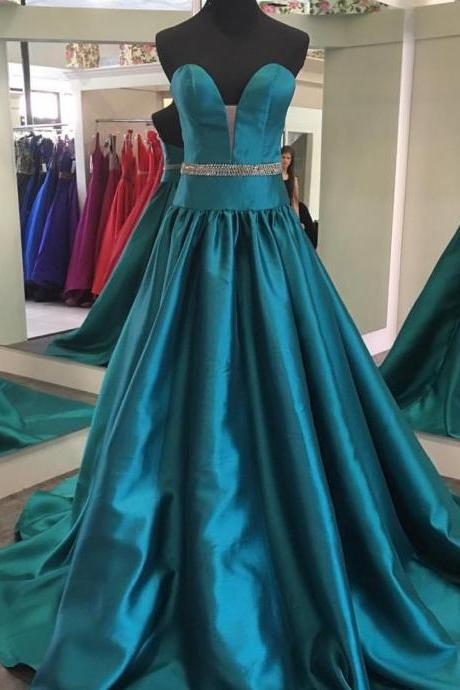 Sweetheart Satin Evening Dress, Long Formal Dress With Beaded Waist