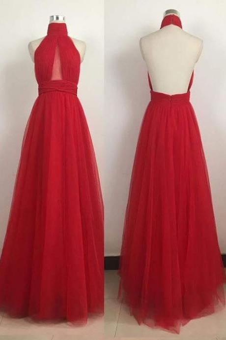 red long prom dresses, backless long prom dresses, prom dresses with high neck, tulle prom dresses, floor length prom gown