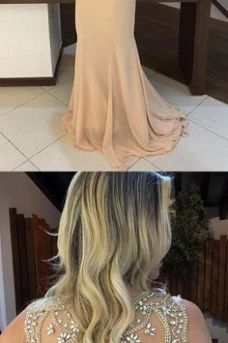 2018 prom dresses,open back prom dresses,champagne prom dresses,scoop open back party dresses