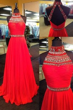 Sexy Halter Prom Dress, Sweep Train Prom Dress, Chiffon Backless Prom Dress, Red Prom Dress With Rhinestone