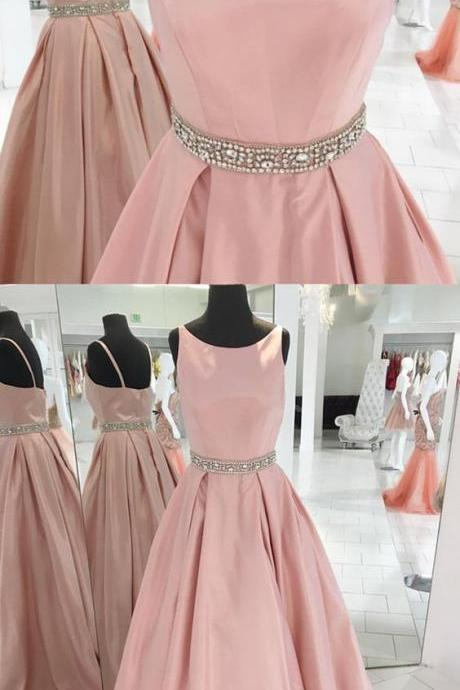 Elegant Long Prom Dress, Pink Satin Prom Dress, Floor Length Evening Gowns With Beaded Sashes