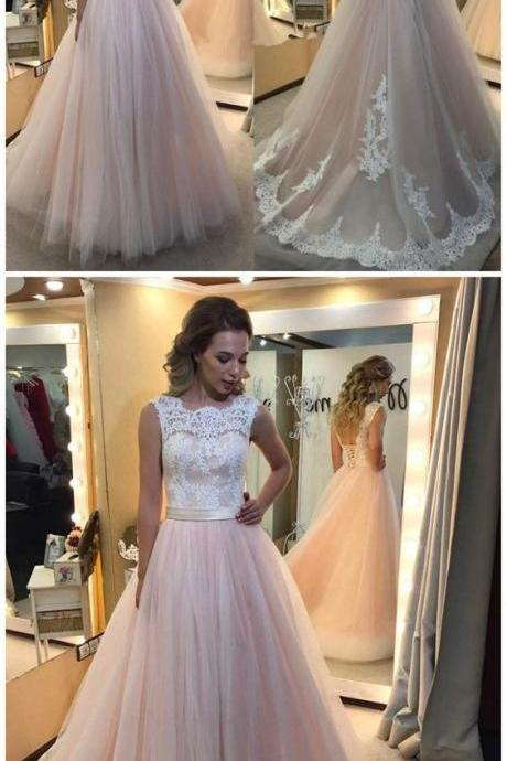 Lace Pale Pink Prom Dress, Tulle A line Evening Dress, V-Back Long Prom Dress