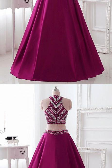 Two Piece Beading Prom Dress, Sleeveless Long Party Dress, Burgundy Stain Evening Dress