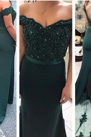 Off The Shoulder Evening Gowns, Mermaid Prom Dresses, Green Long Prom Dresses