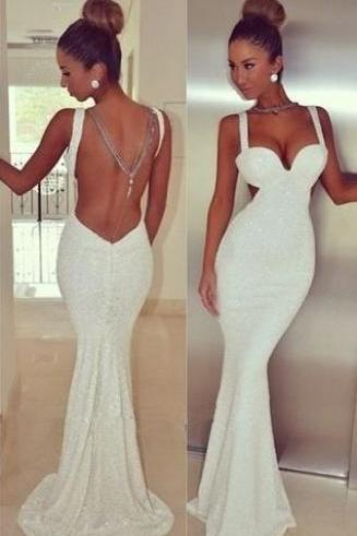 White Mermaid Prom Dress, Backless Long Party Dress, Simple Stain Evening Dress