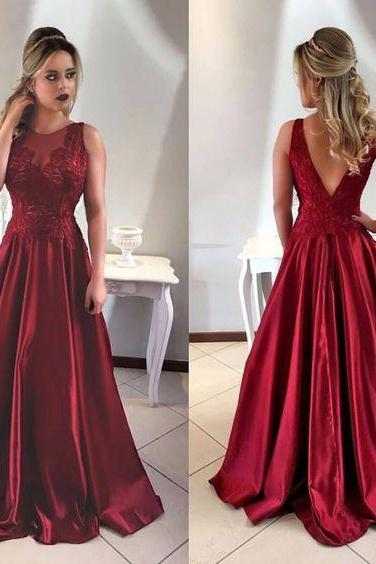 Charming Red Prom Dress, Beading Long Party Dress, V-Back Stain Evening Dress
