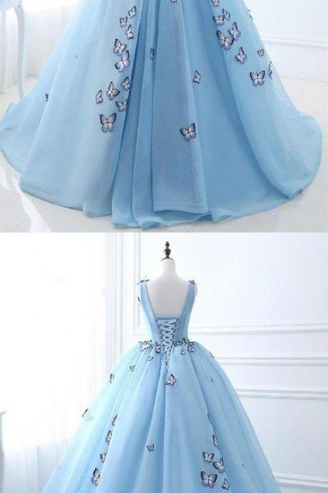 Charming long prom dress, V-neck ball gown prom dress, blue stain prom dress