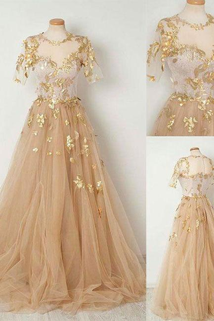 Champagne half sleeves prom dress, tulle long prom dress, round neck applique prom dress