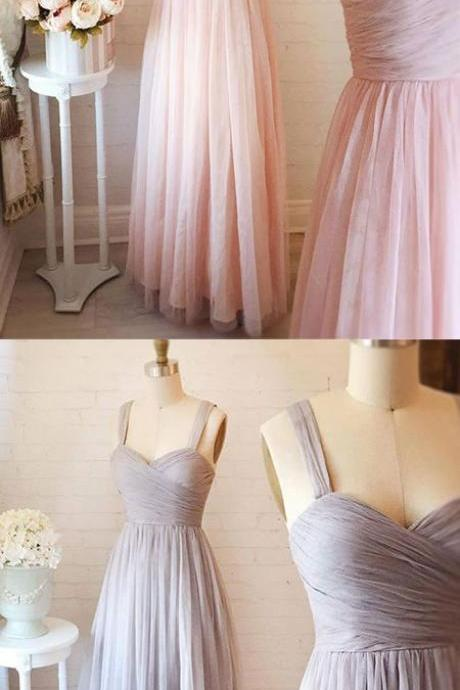 Cute A-Line Prom Dress, Sweetheart Neck Tulle Party Dress, Pink Long Evening Dress