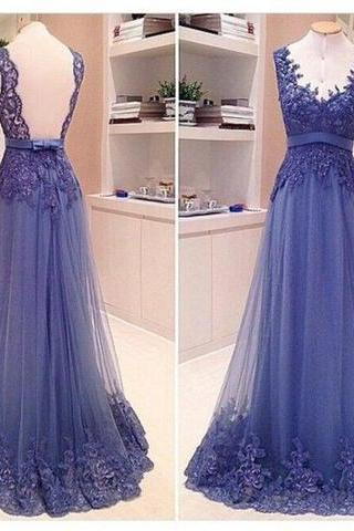 A Line Formal Dress, V Neck Lace Prom Dress, See Through Back Long Prom Dress