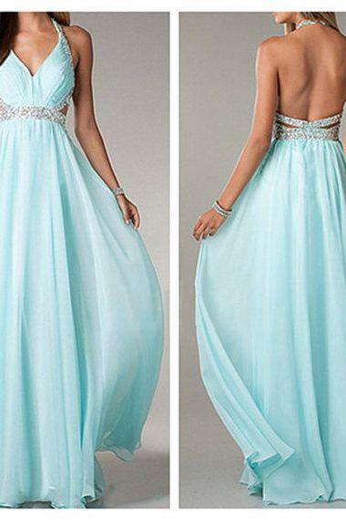 Blue Halter Prom Dress, Open Back Elegant Party Dress, Chiffon Formal Floor Length Prom Dress