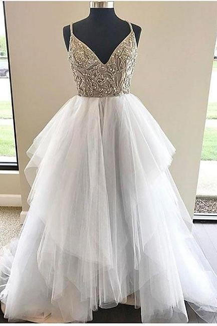 A-Line V-Neck Spaghetti Straps Tulle Long Wedding Dress With Beading
