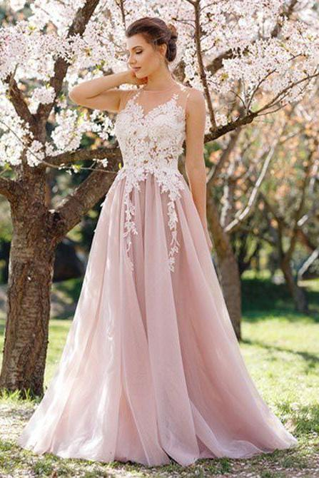 Charming A-line Prom Dresses,Floor Length Prom Dress,Pink Tulle Prom Dress,2018 Prom Press with Appliques