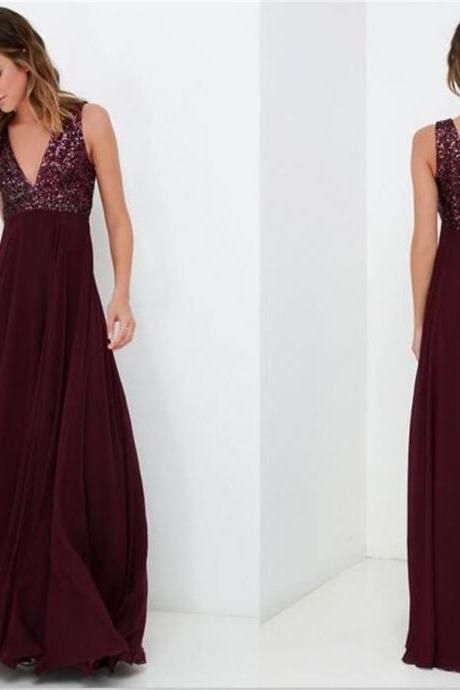 A-line long v-neck top sequin simple cheap chiffon prom dress , Burgundy prom dress