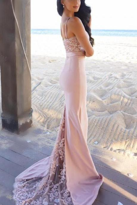 Spaghetti Straps Prom Dresses, Sexy Prom Dresses, Pink Prom Dress, Woman Dresses for Evening Events. Formal Dresses,Party Dresses