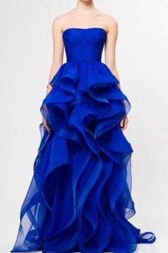 Royal Blue Strapless Layered Ruffles Long Prom, Evening Dress