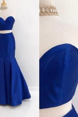 Two Piece Strapless Mermaid Royal Blue Long Prom Dress