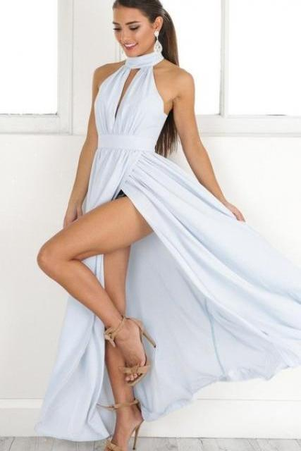 High Neck Sky Blue Long Prom Dress with Slit