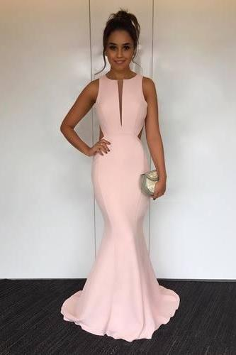Elegant Pink Mermaid Long Prom Dress with Open Back