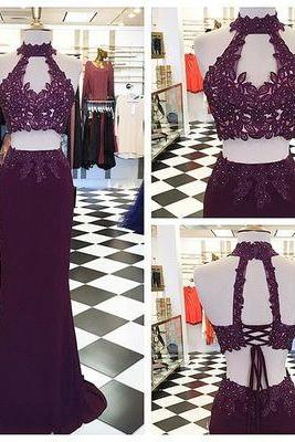 Gorgeous Two Piece Grape Mermaid Long Prom Dress