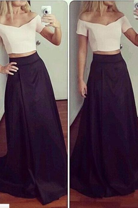 2 Piece Prom Dress,Off the Shoulder Prom Dress,Two Piece Prom Dress,Short Sleeves Prom Dress,A-line Prom Dress,Long Sexy Prom Dress,Two Piece Party Dress,Long Evening Dress ,Fashion Formal Dress,Women Prom Gowns