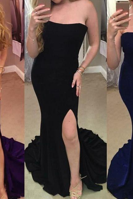 Spandex Mermaid Long Sexy Slit Forma Gowns, Elegant Evening Gowns, Prom Dresses 2018