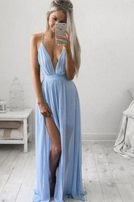 Simple Blue Casual Spaghetti Straps Chiffon Long Prom Dress, M96
