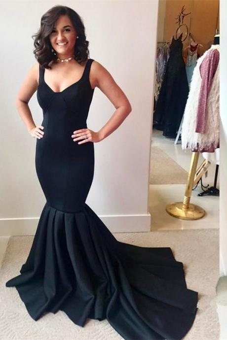 Gorgeous Mermaid Black Evening Dress,Straps Pleated Prom Dress with Train