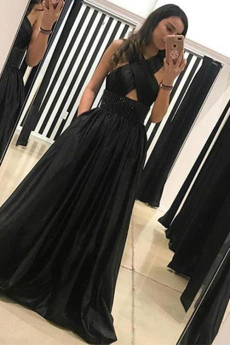 Unique black long prom dress, black evening dress