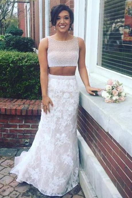 Mermaid Prom Dress,Lace Prom Dresses,Sweep Train Prom Gown,Pearl Prom Dresses,Two Piece Prom Gown,New Style Prom Dresses