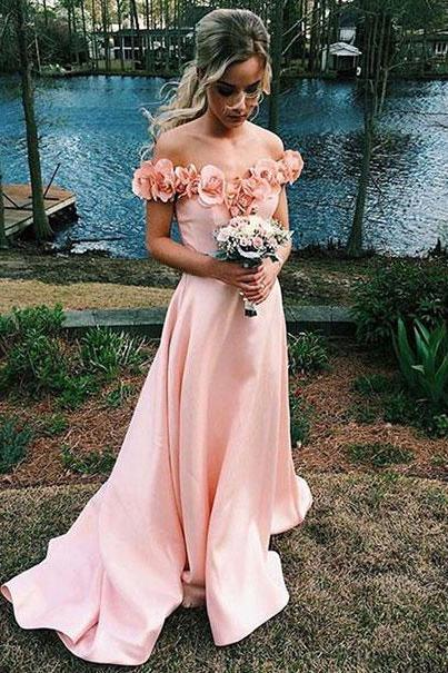 Blushing Pink Satin Off the shoulder with Flowers Simple Prom Dresses apd2691