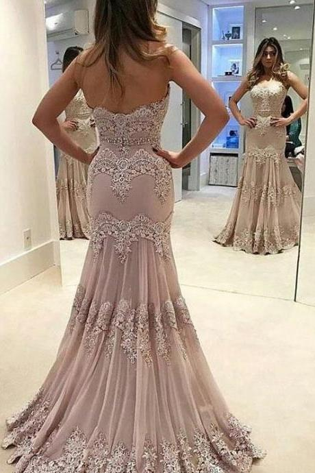 Strapless Sweetheart Neck Vintage Lace Mermaid Prom Dresses APD2828