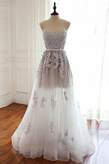A-line Strapless Sweetheart Neck Lace Appliqued Long Prom Dresses APD3010
