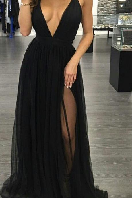 Sexy Prom Dress,Sleeveless Black Prom Dresses with Slit,Backless Evening Dress,Sexy Prom Dresses ,Party Dress