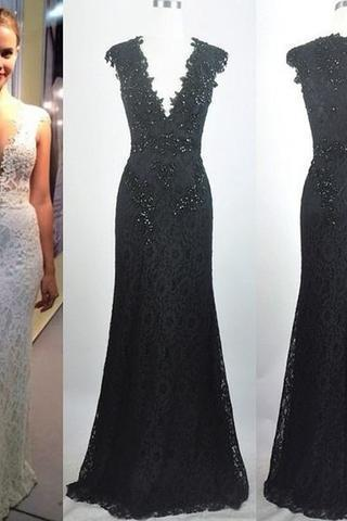V-neck Sleeveless Lace Beaded Sheath Tulle Long Prom Dresses, PD0268
