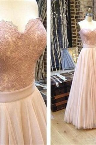 Sweetheart A-line Tulle Prom Dresses, Charming Lace Prom Evening Dresses,Long Prom Dress