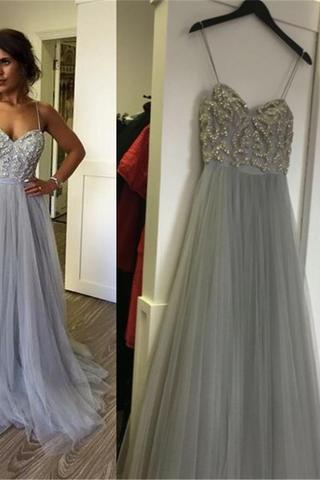 Charming Spaghetti Lace Tulle Long A-line Prom Dresses, PD0166