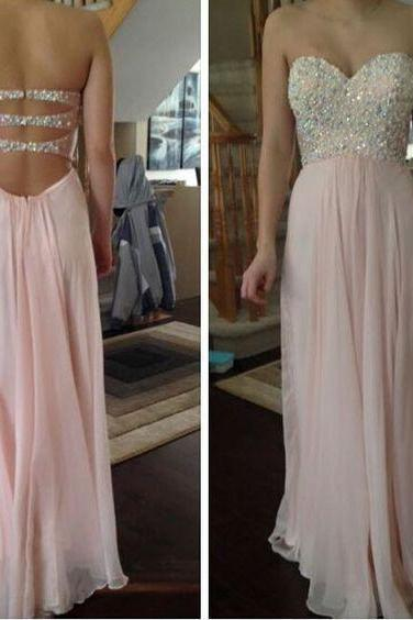Beautiful Light Pink Sweetheart Chiffon Prom Dresses, Pink Prom Gowns, Party Dresses 50071