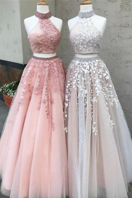 Two Piece Tulle Prom Dress, High Neck Long Party Dress, Charming Applique Evening Dress 50074