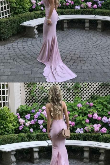 halter long prom dresses, backless court train party dresses, pink mermaid semi formal dresses 50149