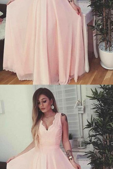A-Line V-Neck Backless Pink Chiffon Prom Dress with Appliques 50508