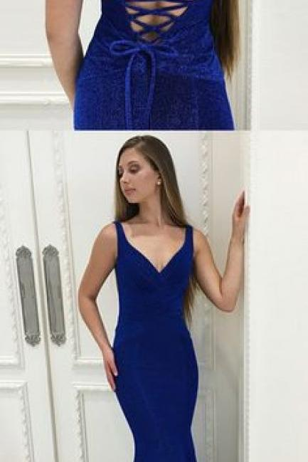 Mermaid V-Neck Lace- Up Floor-Length Royal Blue Velvet Prom Dress 50511
