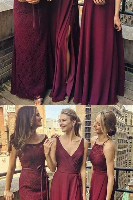 Burgundy A Line Prom Dress, Floor Length Sleeveless Party Dress, Simple Appliques Evening Dress 51438