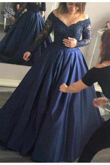 Navy Blue Lace Ball Gown,Long Sleeve Prom Dress,Custom Made Evening Dress 51467