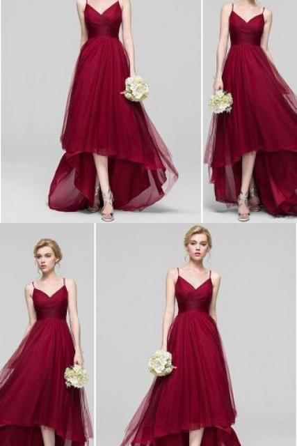 Sexy Spaghetti Straps Prom Dress, Burgundy Long Party Dress, Tulle Evening Dress 51512