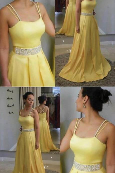 Sexy Yellow Prom Dress, Spaghetti Straps Long Party Dress, Stain Evening Dress 51517
