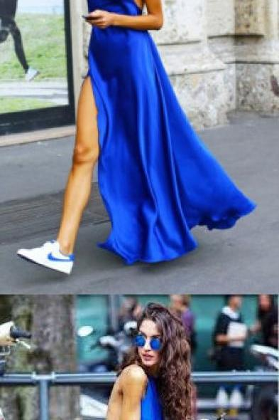Simple Royal Blue Prom Dress, Backless Stain Party Dress, Long Evening Dress 51527