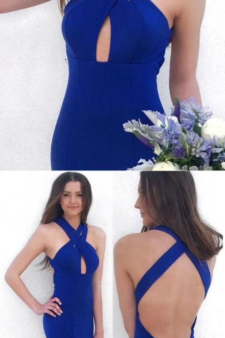 Charming Halter Prom Dress, Royal Blue Backless Party Dress, Satin Mermaid Long Evening Dress 51565